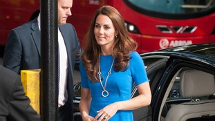 The Duchess of Cambridge arrives at the National Portrait Gallery, in central London.