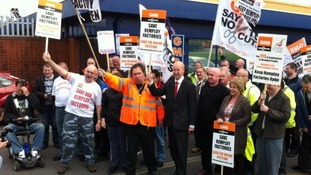 Remploy protests in Swansea.