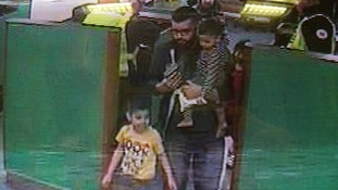 CCTV pictures of Malik with two of his children in Dover on 7 April.