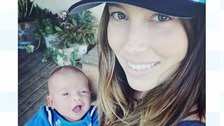 Silas and his mother Jessica Biel posed for father Justin Timberlake.