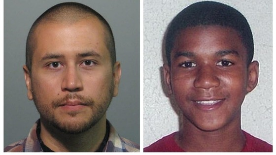 George Zimmerman (left) and 17-year-old teenager Trayvon Martin (right)