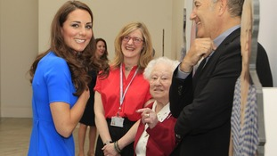The Duchess of Cambridge spoke to 100-year-old Diane Gould during her visit