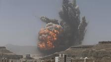 A Saudi airstrike explosion in Sanaa