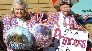 Margaret Tyler and Terry Hutt outside the Lindo Wing of St. Mary's Hospital
