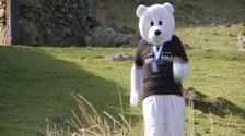 Annie Rawlinson has been travelling around Cumbria dressed as a polar bear