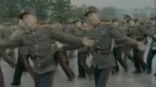 Dancing on the streets of Pyongyang.
