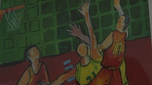 Basketball players painting