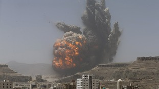 An airstrike by Saudi-led forces on a weapons warehouse yesterday caused a massive explosion in Sanaa