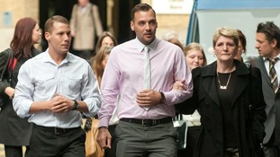 Julia Tomlinson (right) the widow of Ian Tomlinson and her sons Richard King (left) and Paul King (centre).