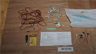 Wires, batteries, lights, instructions