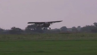 A plane comes in to land at Stow Maries airfield in Essex.