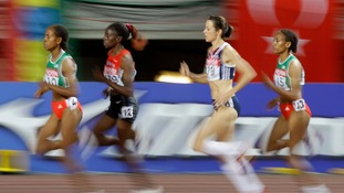 Jo Pavey (second left) competes at the Osaka World Athletics Championships