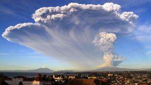 The smoke cloud over the town of Ensenada.