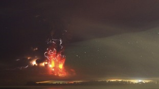 Smoke and lava spew from the Calbuco volcano.