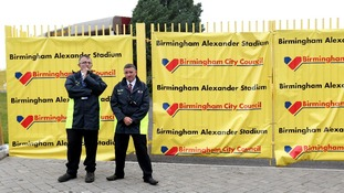 G4S security guards on duty at Alexandra Stadium in Birmingham.