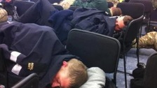 UK troops sleeping on chairs