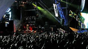 Jay-Z performing at Glastonbury in 2008.