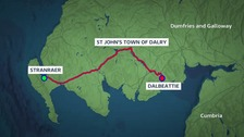 From Stranraer, to St John's Town of Dalry, then down to Dalbeattie.