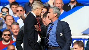 Chelsea manager Jose Mourinho has a heated exchange with Arsenal manager Arsene Wenger during a Barclays Premier League match at Stamford Bridge in 2014