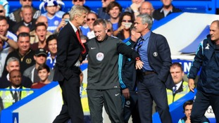 Chelsea manager Jose Mourinho has a heated exchange with Arsenal manager Arsene Wenger on the touchline last year