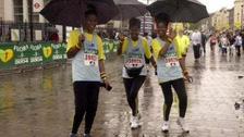It was rainy and cold for the event in 2004