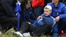 Injured boy with head bandage