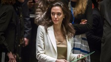 Angelina Jolie addresses the UN Security Council headquarters in New York.
