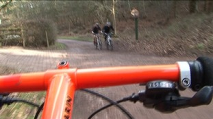 Cycling up Kit Bag Hill in Cannock Chase