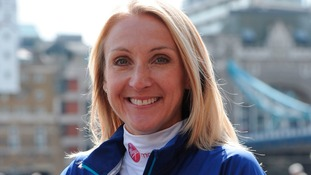 Paula Radcliffe posing in London ahead of today's 35th London Marathon