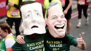 Marathon runners dressed as David Cameron and Nigel Farage