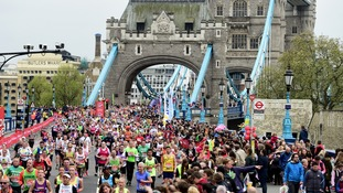 Runners cross Tower Bridge