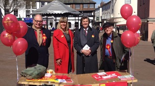 Roger Liddle, Lee Sherriff, Melvyn Bragg and Frank Judd at a Labour stall in the city centre