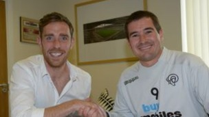 Nigel Clough welcomes Richard Keogh to Derby County