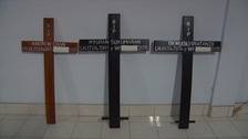 Crosses bearing the names of the inmates have been prepared