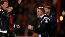 Bournemouth manager Eddie Howe celebrates after his team score their third goal