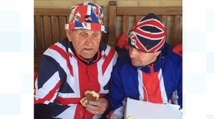Terry Hutt and John Loughry enjoy their royal pastries