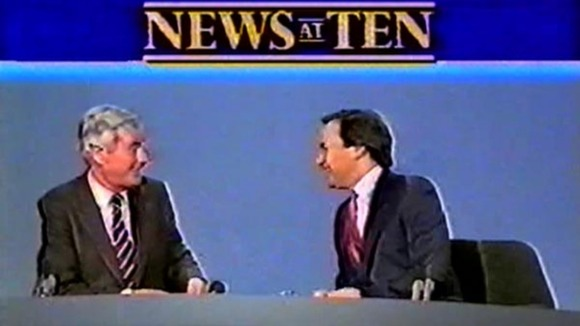 Sir Alastair Burnet alongside Alastair Stewart as they present the News at Ten