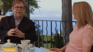 Sir Elton John speaking to Daybreak's Helen Fospero