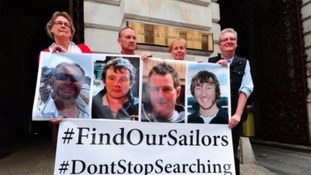 The families of the missing sailors during their campaign to resume the search