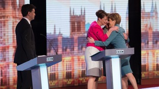 One of the images of Election: The three women share a hug
