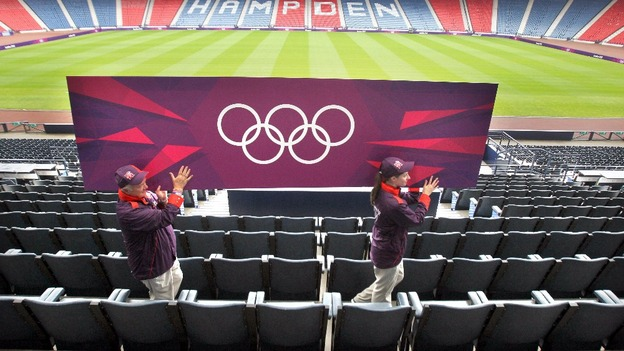 Olympic staff position Olympic Signage billboards at Hampden Park, Glasgow