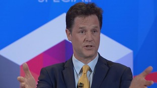 Liberal Democrat leader Nick Clegg speaks to the audience.