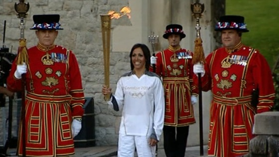 Olympic torch at the Tower of London