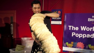 Shamin Ali and Rayman Ali from the Poppadom Restaurant attempt to break the Guinness World Record