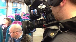 Adrian chats to passengers on an Arriva Trains Wales service