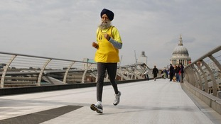 101-year-old marathon runner Fauja Singh.