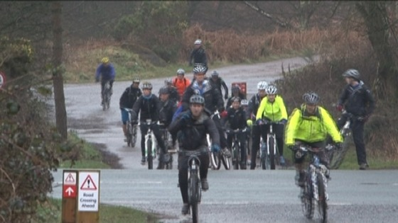 Cyclists using the Forestry Commission cycle route
