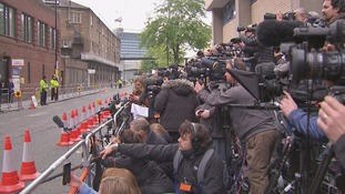 The media outside the Lindo wing at St Mary's Hospital in Paddington.