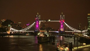 Tower Bridge was lit up in pink for a girl.