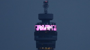 The BT Tower lit up with the words 'it's a girl'.